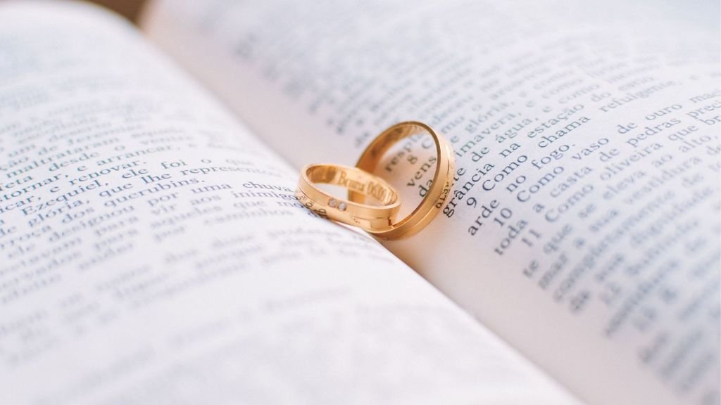 Wedding rings in the middle of a book