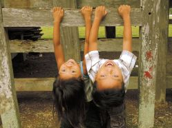 Village children having fun with the camera