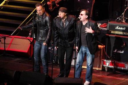 Bruce Springsteen, Steven Van Zandt and Southside Johnny on stage together