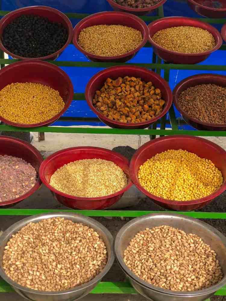 Spices from Tajikistan laid out on the main road near Nurek dam in Tajikistan