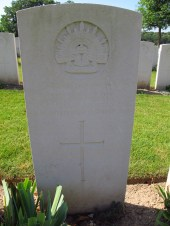 Great uncle's headstone in Adelaide Cemetery, Villers-Bretonneux, France