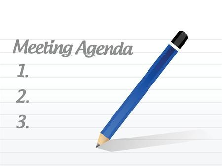 notebook paper and pencil with meeting agenda