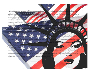 Abstract of the words of the 19th amendment with the American flag and face of Lady Liberty.