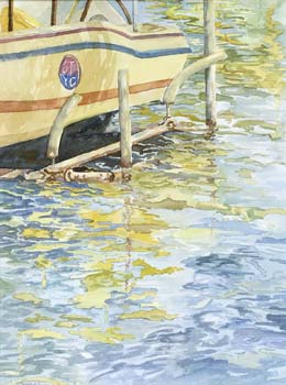 Yellow boat in the water.