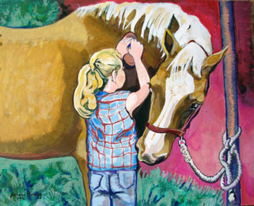 Little girl brushing a brown horse with white mane.