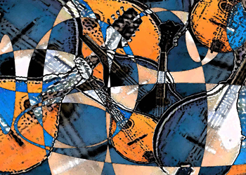 Abstract of mandolins in blue, white, and gold.
