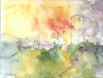 Cityscape on multicolored background.