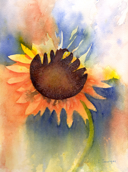 Large yellow sunflower on multicolored background.