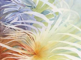 Abstract of white palm leaves on multicolored background.