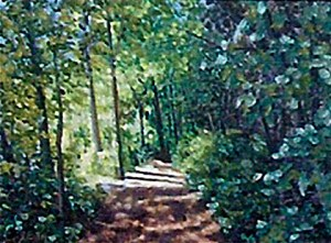 Painting of a trail in the woods filled with green trees.