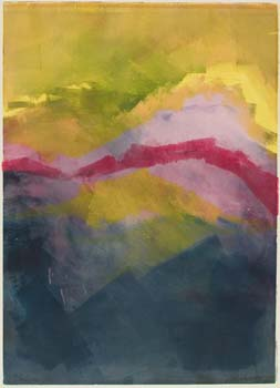 Abstract landscape in yellow, red, and gray colors.