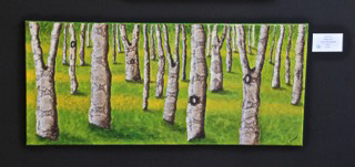 Painting of birch trees.
