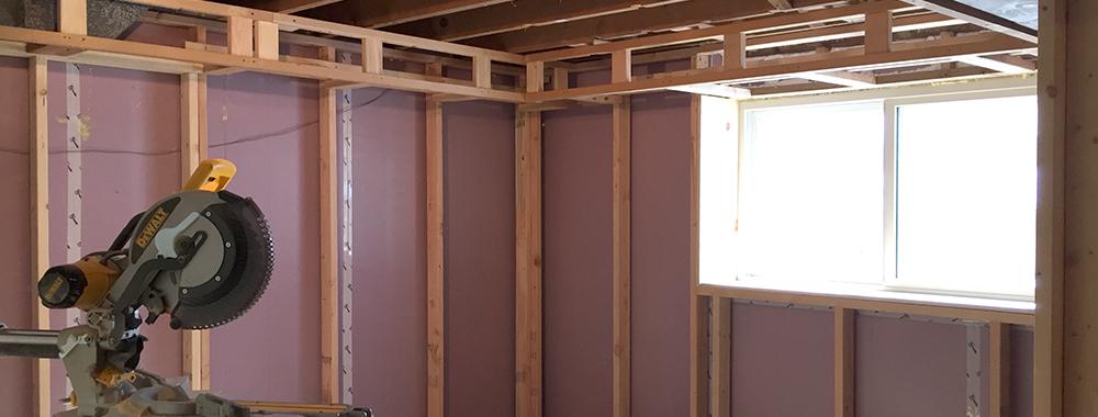 Progress: Framing basement walls and soffits