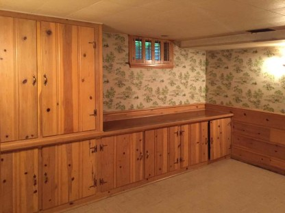 basement rec room to cabinets
