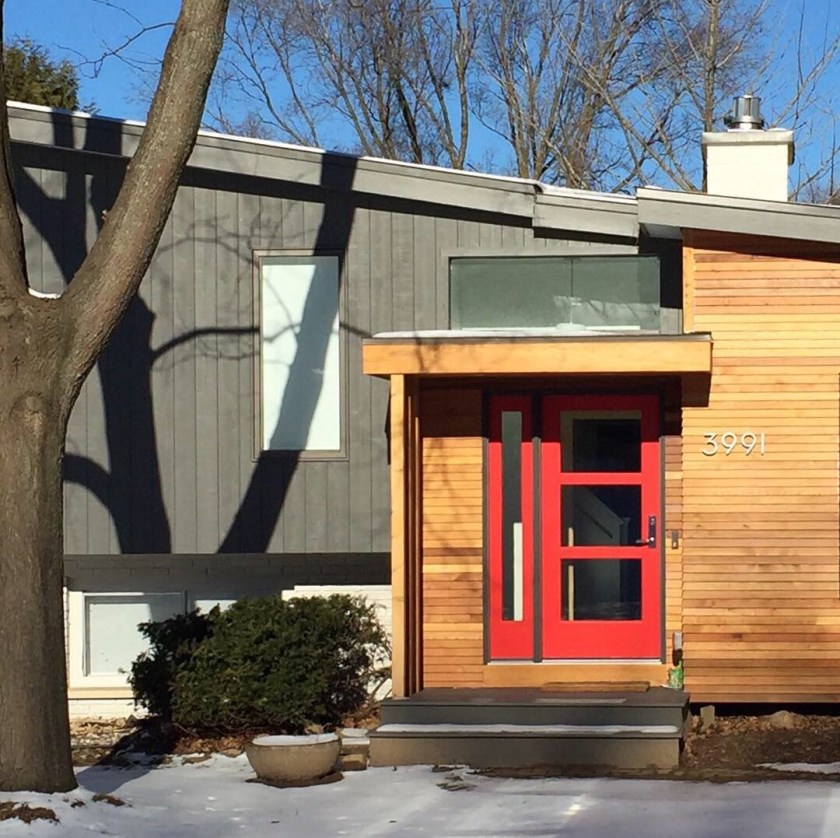 image of cedar portico remodel with fabulous red front door