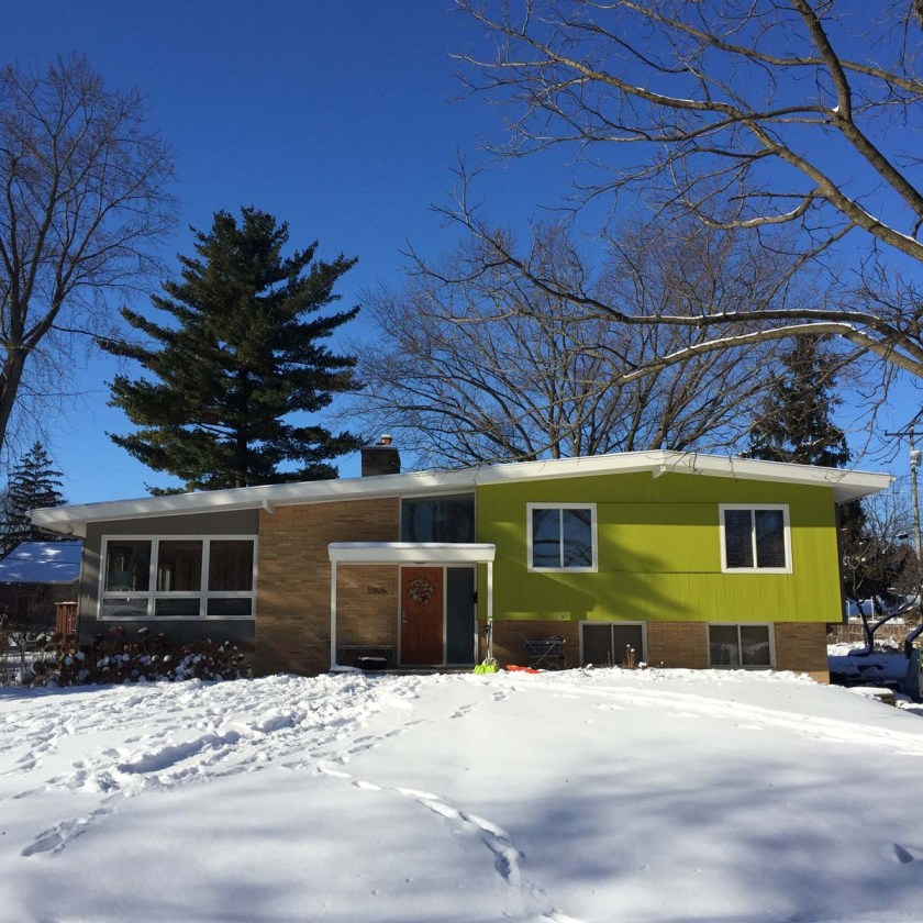 Brick and Lime Green split level mid-century house