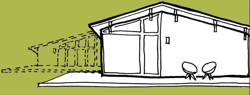 sketch of a mid-century house addition
