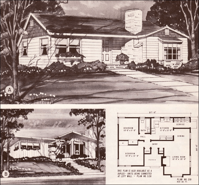 the history of mid-century ranches shown in a rendering for one modest house