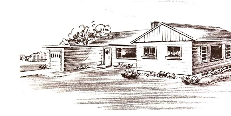 sketch of a 1953 ranch with sectional garage door