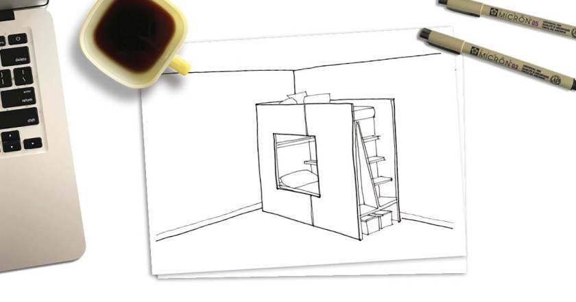 sketch of modernist kids bunk bed on desk