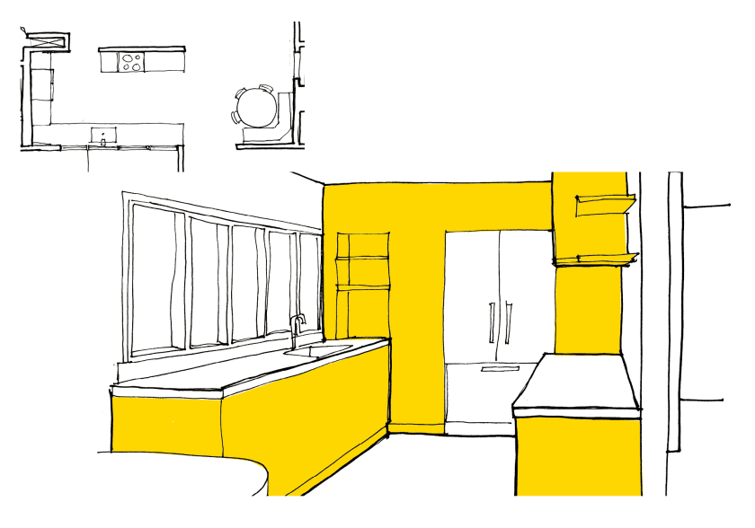 floor plan and sketch of updated kitchen layout for mid-century ranch home remodel