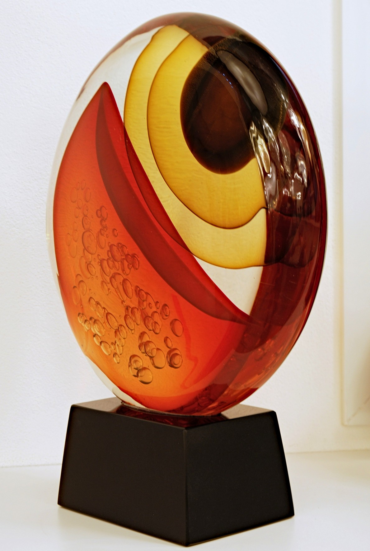 Stefano Toso Abstract Murano Glass Sculpture Warm Colors