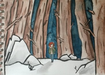 """Ellie in Winter"", a watercolour sketch inspired by the game The Last of Us on PS4 (June 2016)."