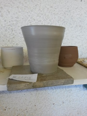 A pot I made using a pottery wheel supervised by ceramicist Christina Peters at Flameworks (Summer 2016).
