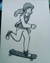 Character design of a girl skateboarder for #inktober (Oct 2016).