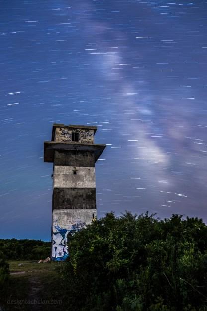 Star trails over gooseberry island, westport, massachusetts