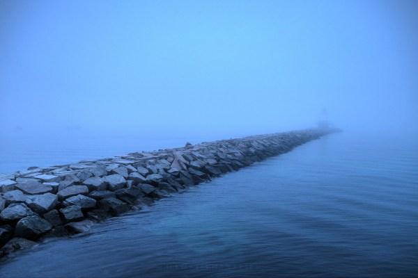 Spring point ledge lighthouse in a dense fog, south portland, maine