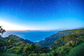 Star Trails over Kalalau Lookout on the island of Kauai, Hawaii.