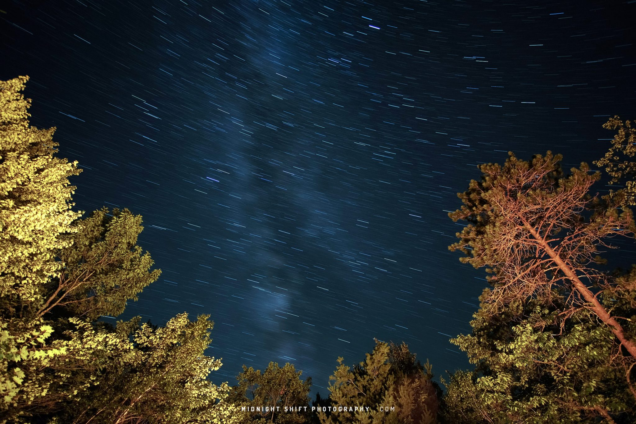 Star trails over brownfield, maine 2018