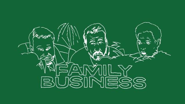 「FAMILY-BUSINESS」緑色の背景に白線で中年男性3人の顔