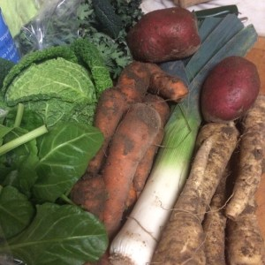 Veg bag contents: spinach, cabbbage, kale, carrots, parsnips, leeks and potatoes - veg bag - midorigreen.co.uk