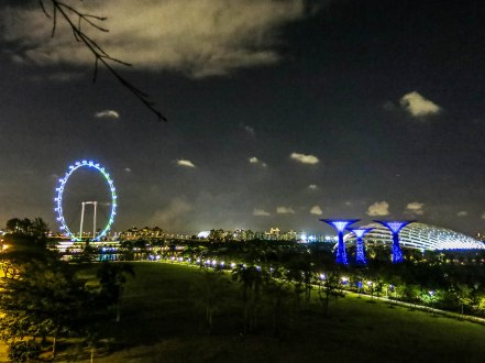 not-so-visible is the Bay East Gardens. Bonus view of the Singapore Flyer, Supertrees and Cool Conservatory