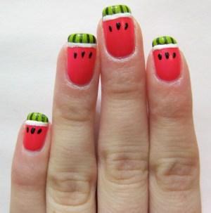 Watermelon nail art BBQ