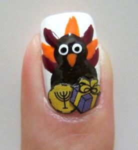 Hanukkah Turkey Nail Art