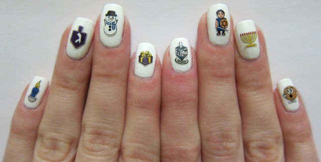 Hanukkah Nail Decals by Midrash Manicures