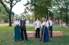 Christina Renee Jones as Verges, Jared Dennis as Dogberry, Glenn Garrabrant as First Watchman, Meg Harkins as George Seacoal, and Travis Cook as Hugh Oatcake