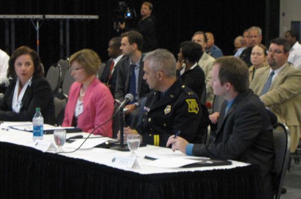 The Urban Crime Summit panel included U.S. Attorney Tammy Dickinson, Jackson County Prosecutor Jean Peters Baker; NoVA manager Joe McHale; and UMKC criminology professor Andrew Fox.