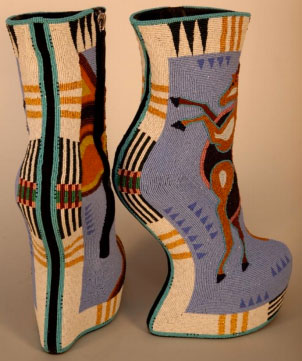 Jamie Okuma, b. 1977, Luiseño/Shoshone-Bannock, California. Horseshoes, 2014. Commercial shoes, glass and 24k gold beads, 30 ½ x 20 ¼ x 7 5/8 inches. Collection of Ellen and Bill Taubman, AI.1403.001, Photo: Cameron Linton.