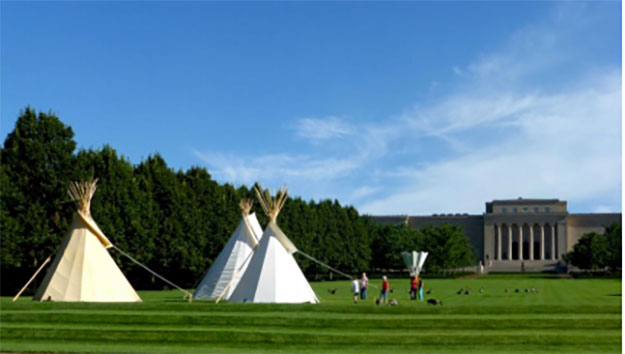 Tipis on the lawn of The Nelson-Atkins Museum of Art; Photo credit: Kalie Hudson