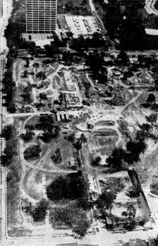 This 1971 Kansas City Star aerial photo shows 31st and Southwest Trafficway after demolition of homes but before the building of Penn Valley Community College. The view looks north up Southwest Trafficway to the BMA Building at 31st and the Trafficway.