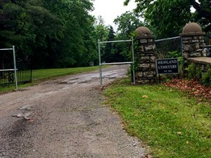 The gates to Highland Cemetery.