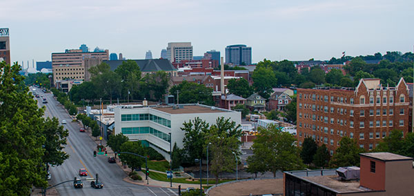 The view from the roof of the Ambassador Apartments stretches north up Broadway to the Kauffman Performing Arts Center.
