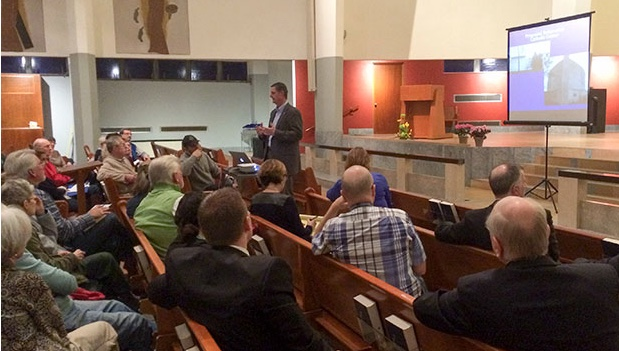 File Photo. A developer for the Catholic diocese presented a plan for student housing to a packed room in January.