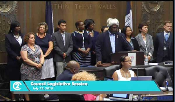 Mayor SLy James and the outgoing city council said goodbye to the council aides and thanks them for their service.