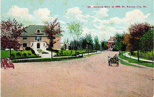 The Veile residence at 4500 Warwick was captured in this postcard during the time when this block was alive with mansions. Stephen Veile was the grandson of John Deere and manufactured Velie Motor Cars from 1923 to 1928. The mansion was razed in the 1960s by the Unitarian Church.
