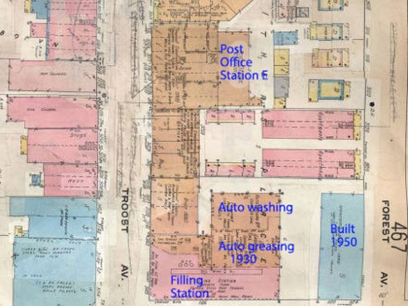 A 1909-1950 map of the block.
